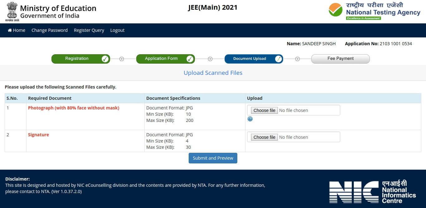 JEE Mina 2021 Application form Document upload.